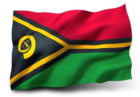 Waving flag of Vanuatu isolated on white background