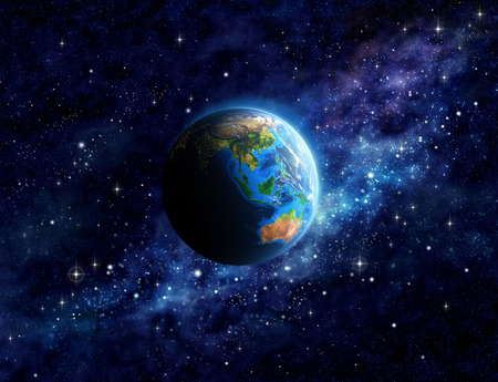 Photo for Imaginary view of planet Earth into deep space, focused on Asia and Australia. Elements of this image furnished - Royalty Free Image