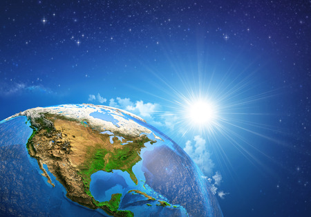 Photo for Rising sun over the Earth and its landforms, view of the United States of America. Elements of this image furnished by - Royalty Free Image