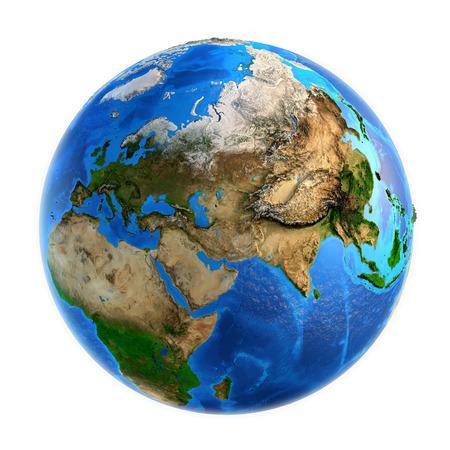 Foto de Detailed picture of the Earth and its landforms, isolated on white. Elements of this image furnished  - Imagen libre de derechos
