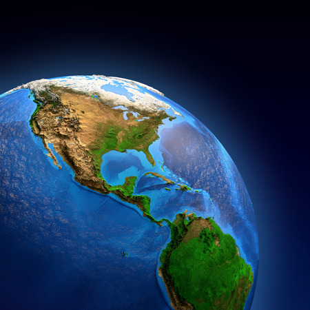 Photo pour Detailed picture of the Earth and its landforms, view of American continent. Elements of this image furnished  - image libre de droit