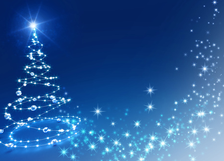 Abstract Christmas tree on shiny blue background
