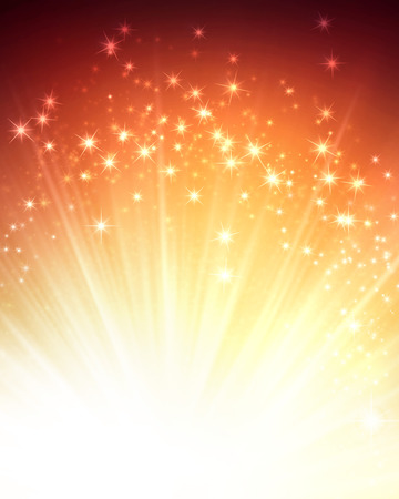 Shiny gold background with starlight explosion