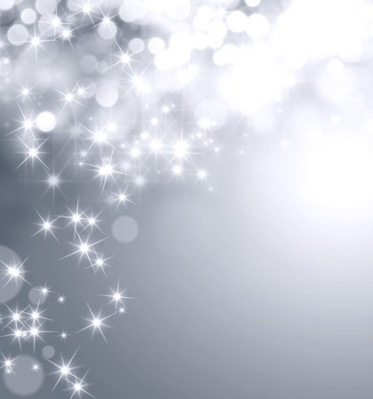 Shiny silver background with star lights raining down