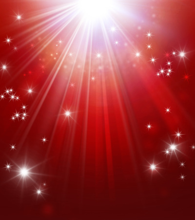 Photo pour Shiny red background with star lights raining down - image libre de droit