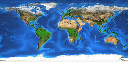 Detailed satellite view of the Earth and its landforms.