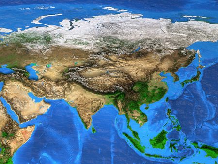 Photo pour Detailed satellite view of the Earth and its landforms. Asia map - image libre de droit