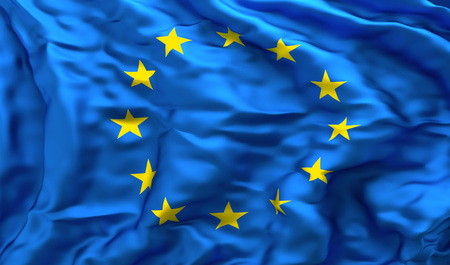 Foto de Full frame background of European flag blowing in the wind, facing turbulence - Imagen libre de derechos