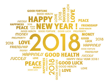 Illustration pour Gold greeting words around year 2018 typescript isolated on white - image libre de droit