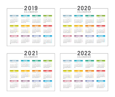 Ilustración de Set of minimalist calendars, years 2019 2020 2021 2022, in French langage, on white background - Vector templates. - Imagen libre de derechos