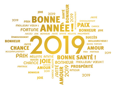 Illustration pour Gold greeting French words around New Year date 2019, isolated on white - image libre de droit