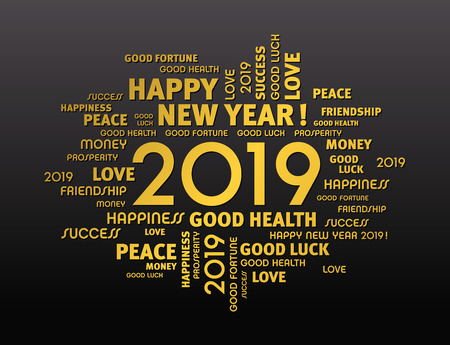 Illustration pour Gold greeting words around New Year date 2019, isolated on black background - image libre de droit