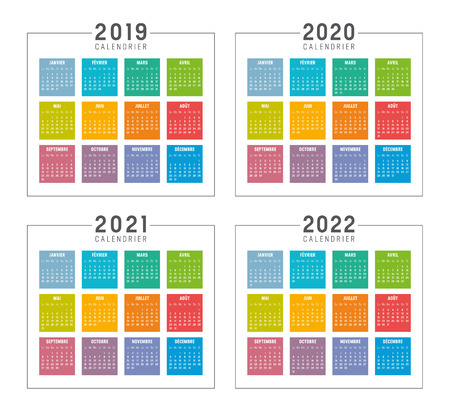 Ilustración de Set of minimalist colorful calendars in French language, years 2019 2020 2021 2022, weeks start Monday, on white background - Vector templates. - Imagen libre de derechos