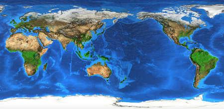 Foto de Detailed flat view of the Planet Earth and its landforms. - Imagen libre de derechos