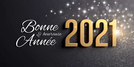 Photo pour New Year 2021 date number colored in gold and Greetings in French language, on a festive black card, with glitters and stars - 3D illustration - image libre de droit