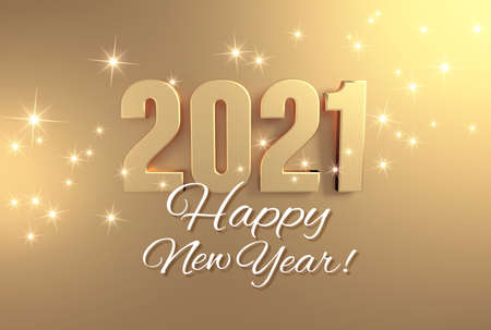 Photo for New year greeting card, date 2021 colored in gold, on a festive golden background - 3D illustration - Royalty Free Image