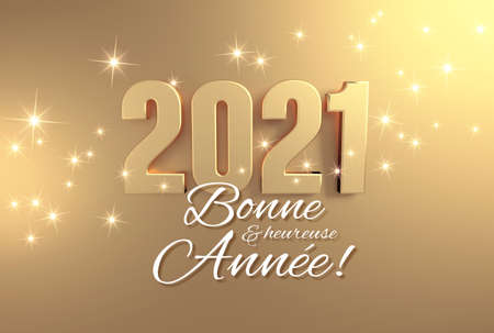 Photo pour 2021 date number colored in gold and New Year greetings in French language, on a festive golden background - 3D illustration - image libre de droit