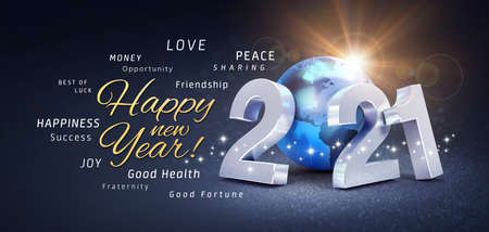 Foto de Happy New Year greetings, best wishes and 2021 date number, composed with a blue planet earth, on a festive black background, with glitters and stars - 3D illustration - Imagen libre de derechos
