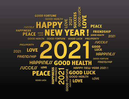 Illustration pour Gold greeting words around New Year date 2021, on black background - image libre de droit