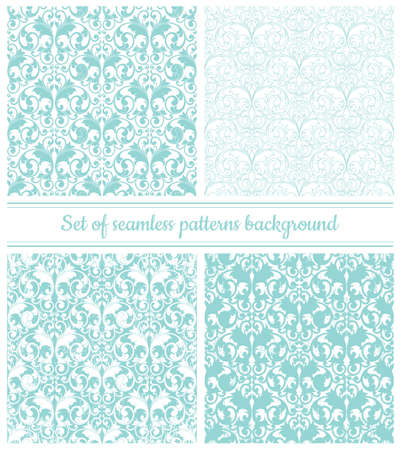 Illustration for Collection of seamless damask patterns in pastel blue color. Vector illustration. - Royalty Free Image
