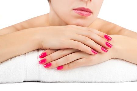 Photo pour woman s hands  spa salon  isolated - image libre de droit