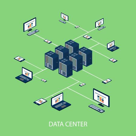 Illustration pour Data isometric set with data center and network elements vector illustration - image libre de droit