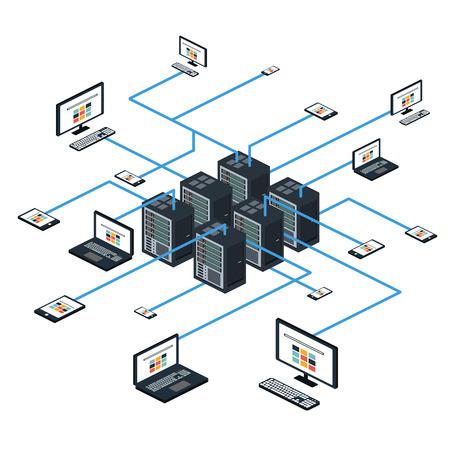 Illustration pour Data isometric set with data center and network elements illustration - image libre de droit