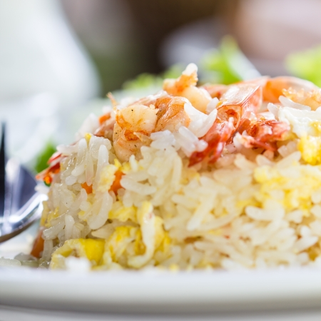 fried rice with shrimp close up.