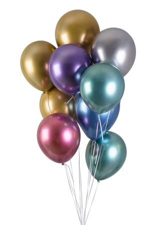 Photo for A bunch of multi-colored metallized balloons for party  isolated on black background - Royalty Free Image