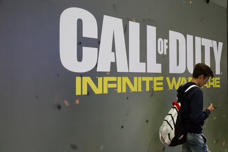 MILAN, ITALY - OCTOBER 14: Call of Duty stand at Games Week 2016, event dedicated to video games and electronic entertainment on OCTOBER 14, 2016 in Milan.