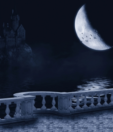 Fantasy background with a dark night, the moon and the castle balcony