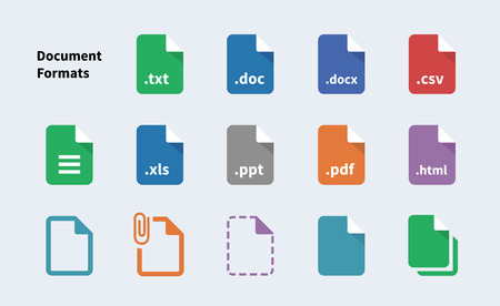 File Formats of Document icons. Isolated vector illustration.
