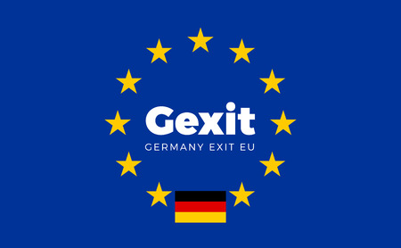 Flag of Germany on European Union. Gexit - Germany Exit EU European Union Flag with Title EU exit for Newspaper and Websites. Isolated Vector EU Flag with Germany Country and Exit Name Gexit.