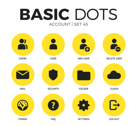 Illustration pour Account flat icons set with users isolated vector illustration on white - image libre de droit