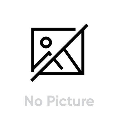 Ilustración de No Picture icon. Editable Line Vector. No image, no photo available or no picture for your website or mobile app. Single Pictogram. - Imagen libre de derechos