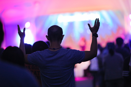 Photo for christian music concert with raised hand - Royalty Free Image