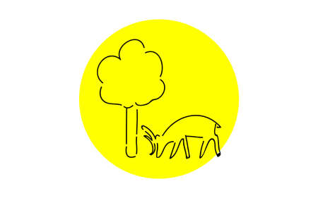 Analog handwriting style loose touch icon: deer and tree