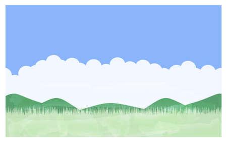 Illustration pour Illustration of summer meadow Blue sky, Irudo cloud, mountains and fields - image libre de droit