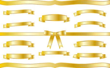 Illustration pour Golden ribbon illustration frame set - image libre de droit