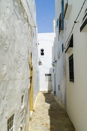 Narrow alley in the medina of Hammamet in Tunisia