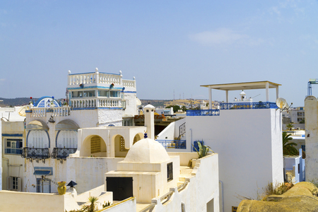 Over the roofs of the medina of Hammamet in Tunisia in summer