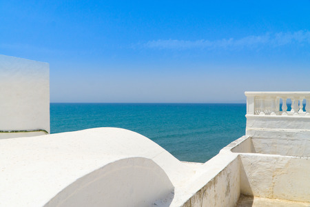 View from the balcony of a house in the medina of Hammamet to the Mediterranean Sea