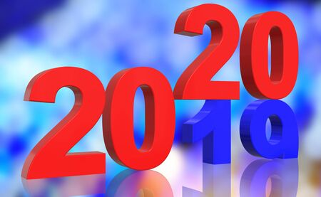 Photo pour 3D Render Turn of the Year 2019 to 2020 in blue and red numbers in front of a colorful abstract background - image libre de droit