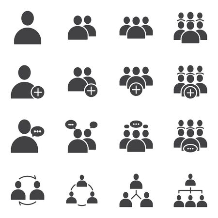 Illustration pour Simple Set of Business People Related Vector flat Glyph solid Icons. Contains such as Meeting, Business Communication, Teamwork, connection, speaking and more - image libre de droit