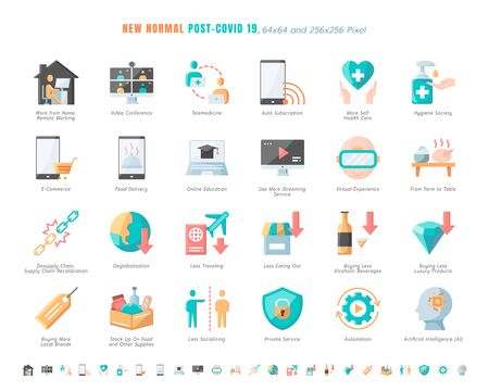 Illustration for Simple Set of New Normal After Coronavirus 2019 or Covid-19 Ends Related. Such as Work from Home, Streaming, Online Shopping, Supply Recalibration. Flat Color Design Icons Vector. 64x64 Pixel. - Royalty Free Image