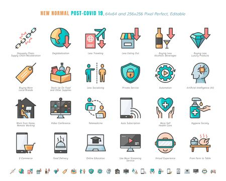 Illustration pour Simple Set of New Normal After Coronavirus 2019 or Covid-19 Ends Related. Such as Streaming, Online Shopping, Supply Recalibration. Filled Outline Icons Vector. 64x64 Pixel Perfect. Editable Stroke. - image libre de droit