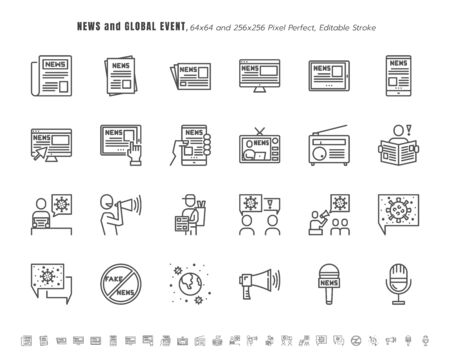 Illustration pour Simple Set of News and Global Event of Coronavirus, Covid-19 Related in Different Platform. Such as Tablet, Phone, Speech Bubble. Line Outline Icons Vector. 64x64 Pixel Perfect. Editable Stroke. - image libre de droit