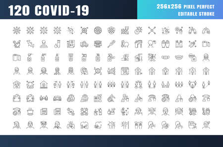 Ilustración de Covid-19 Prevention Line Outline Icons. Coronavirus, Social Distancing, Quarantine, Stay Home. 256x256 Pixel Perfect. Editable Stroke. - Imagen libre de derechos