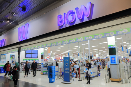 Melbourne Australia - August 23, 2014: People shop at BIG W discount store