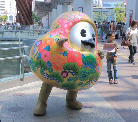 Kanazawa Japan - May 10, 2015: Kanazawa city mascot character poses for photos shoot at Kanazawa station.